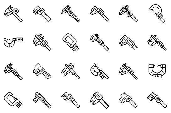 Digital micrometer icons set. Outline set of digital micrometer vector icons for web design isolated on white background