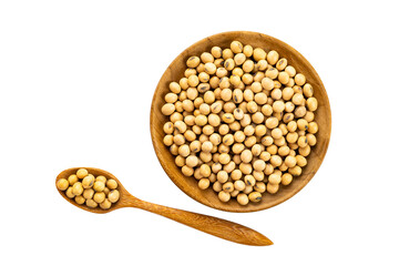 Fototapete - Top view of soy beans in wooden plate and in wooden spoon on white background with clipping path.