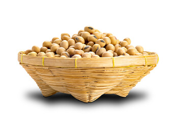 Fototapete - Side view of soy beans in a bamboo basket on white background with clipping path.
