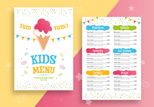 Kids Food Menu Layout