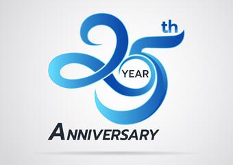 Fototapeta 25 Years Anniversary celebration logotype style colored with shiny blue,Anniversary Template logo obraz