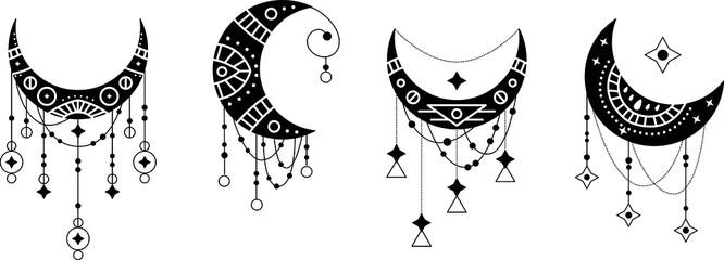 Obraz Crescent moon contour symbol linear icons set. Esoteric spiritual ethnic mascots. Zentangle ornament with mandala element. Isolated vector outline illustrations.  - fototapety do salonu