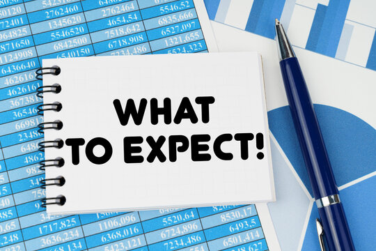 On financial documents and charts there is a notebook with the inscription - What To Expect
