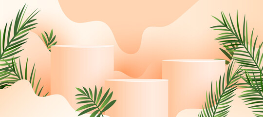 Minimalist modern abstract geometric mockup podium display with fresh palm leaves on a pastel color background