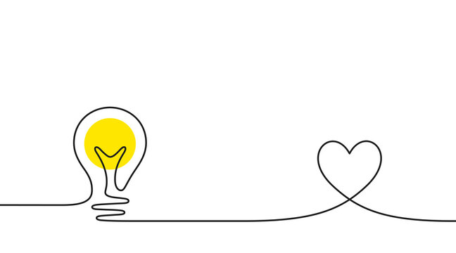 Continuous line idea icon. One light bulb silhouette. Electric lightbulb with heart background. Idea doodle sketch with continuous line. Handdrawn electric light bulb. Lamp silhouette. Vector