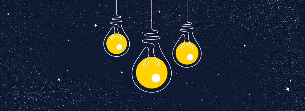 Idea light bulbs icons. Lamp silhouette on night sky background. Continuous line lightbulbs with yellow light. Creative idea sketch on universe stars background. Handdrawn electric bulb. Vector