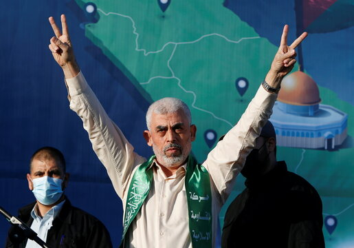 Palestinian Hamas supporters take part in an anti-Israel rally in Gaza City