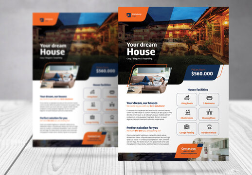 Real Estate Flyer with Blue and Orange  Accents
