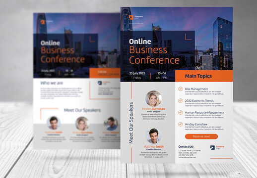 Online Event Business Flyer with Blue and Orange  Accents