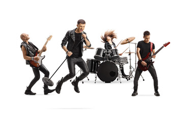 Fototapeta Music band with a male singer jumping with a microphone obraz