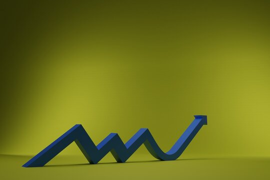 3D growth chart arrow with studio background. concept for business leadership with strategic planning and management idea. 3D rendering