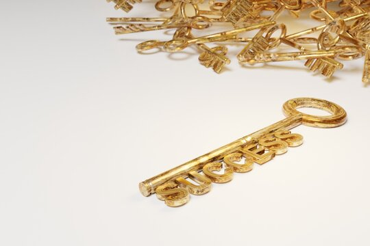Strategy idea concept business. Golden keys with success sign. 3D rendering