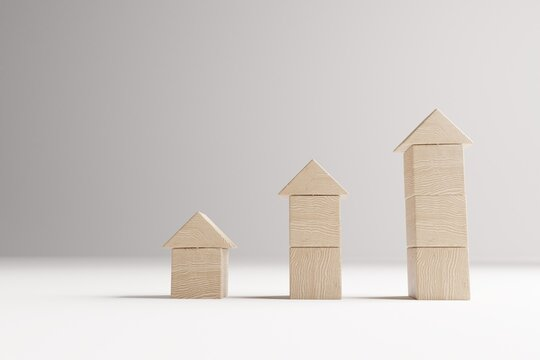 Real estate concept with wooden cubes, house selection concept, 3D rendering