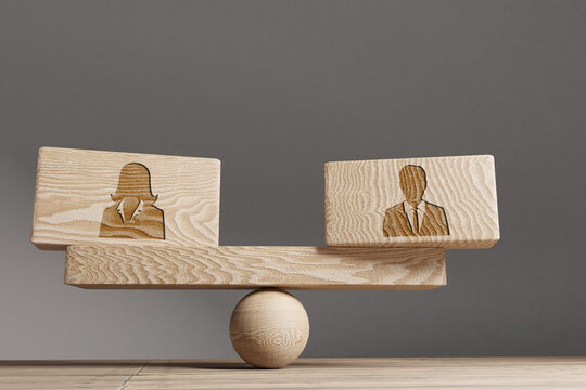 Man and woman Supply and demand balance concept. Wooden cube block with words Man and woman on seesaw.