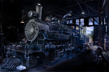 A old steam engine train in the barn for service while cooling down