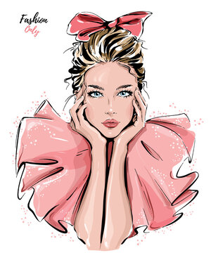 Beautiful girl with bow on her head. Fashion girl. Stylish blond hair woman. Vector illustration.