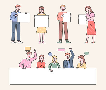 People are standing holding a white board. People are making comments behind a large white banner. flat design style minimal vector illustration.