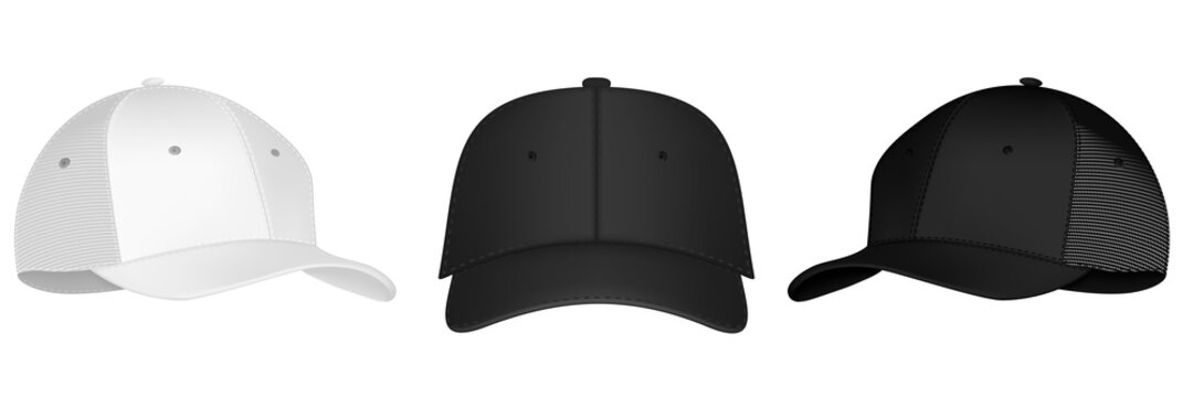 Vector baseball cap front and side view. Mockup isolated on transparent background. Uniform cap with front, back and right side view. Isolated vector illustrations set on white background.