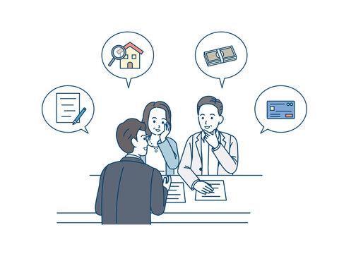 ビジネス、不動産、投資の相談をする中高年の夫婦 融資 審査 ミドル イラスト素材