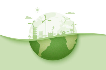 Fototapeta Green energy and eco city background.Ecology and Environment conservation resource sustainable concept.Vector illustration. obraz