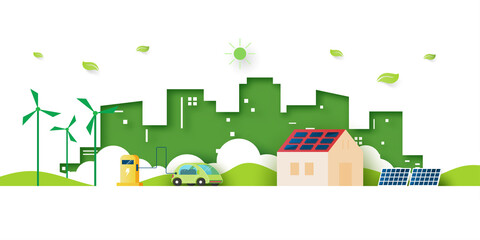Fototapeta Alternative energy and Ecology concept.Electric Car and Green eco city background.Environment conservation resource sustainable. obraz