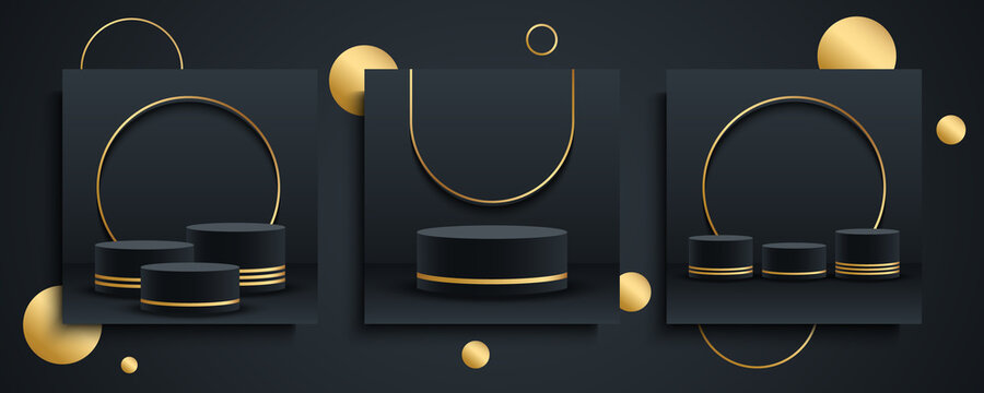 Round podium, platform or pedestal set. 3d cylinder exhibit displays. Luxury backgrounds for product presentation. Black and gold. Vector illustration.