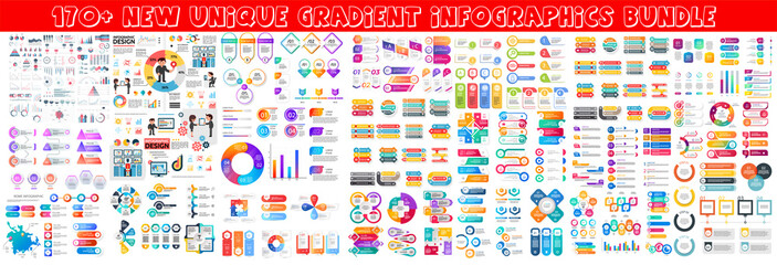 Fototapeta Business infographic modern elements set. Business info visualization bundle for analytics and statistics show. Colorful mosaic diagram, stock and flow charts, line and bar graphs vector illustration. obraz