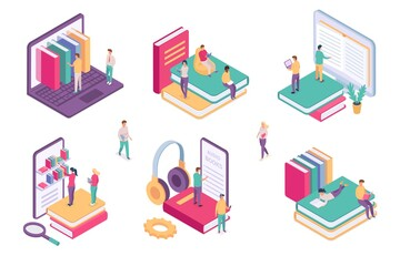 Obraz Isometric online library. Ebook dictionary digital archive for student. School book on phone or computer. Web literature learning vector set - fototapety do salonu