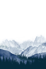 Watercolor painting landscape panorama of pine mountain forest.