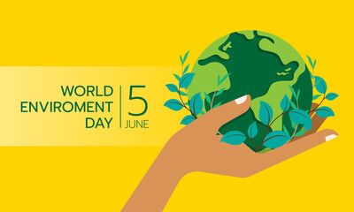Fototapeta world environment day banner hand hold circle green globle earth with leaf plant around on yellow background vector design obraz