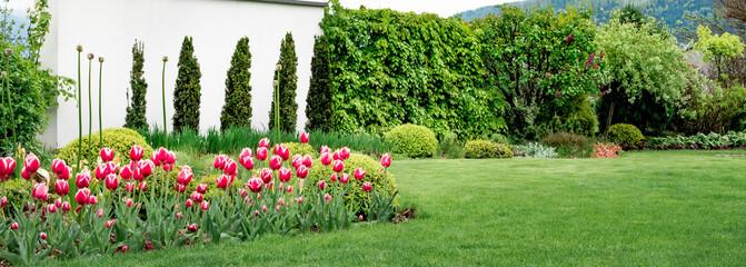 Ścianka w ogrodzie, nowoczesna forma ogrodu w wiosennej odsłonie
