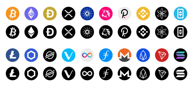 Cryptocurrency / Cryptocurrencies or crypto logos flat vector icons for apps and websites