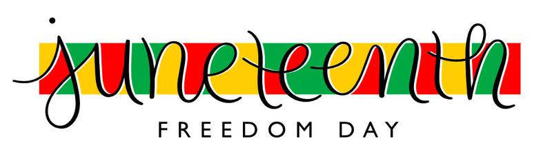 Fototapeta JUNETEENTH - FREEDOM DAY colorful vector brush calligraphy banner on white background obraz