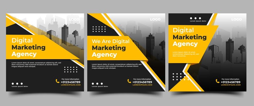 Set of Social media post template for business promotion. Modern banner with a black background and yellow shape.