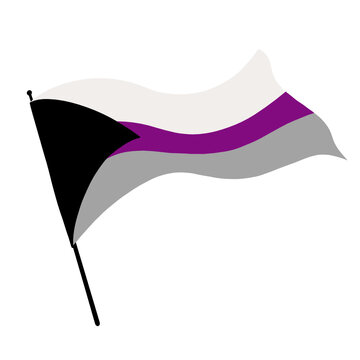 Illustration of a Demisexual Pride flag blowing in the wind.