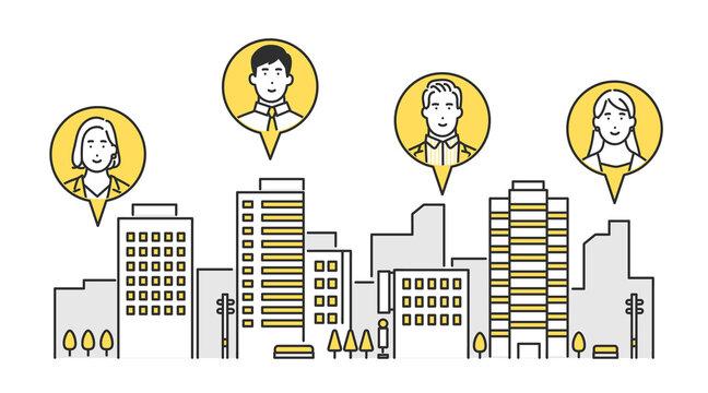 リモートワークで様々な場所で働く社員のイメージイラスト素材