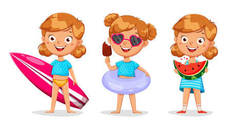 Fototapeta Cute girl cartoon character, set of three poses obraz
