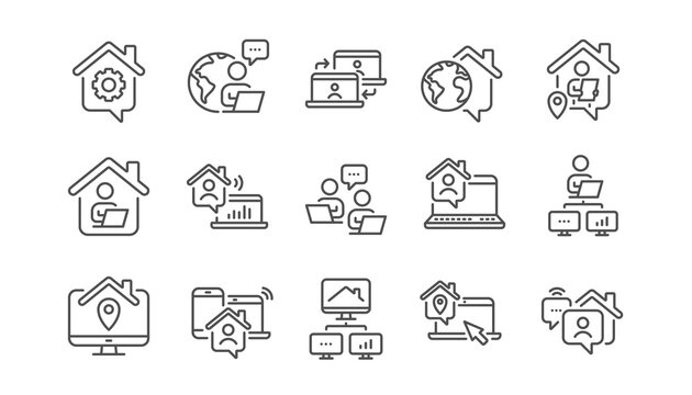 Work at home line icons. Remote worker, Freelance job, Office employee. Stay at home, internet work, remote teamwork line icons. Worker with computer, home workspace, shared network. Vector
