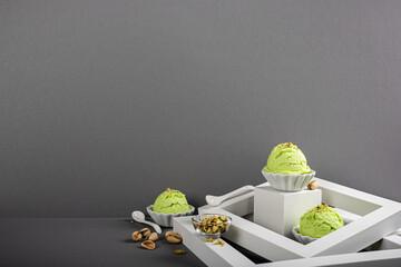 Scoop of homemade pistachio ice cream