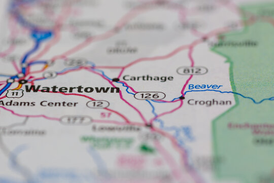 05-24-2021 Portsmouth, Hampshire, UK, Watertown New York USA Shown on a Geography map or road map