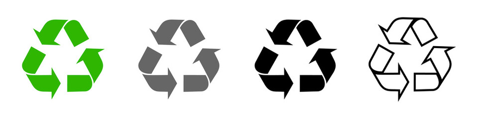Obraz Recycling icons set, recycling arrows. A symbol of ecology, naturalness, purity. Vector set for your design. EPS 10 - fototapety do salonu
