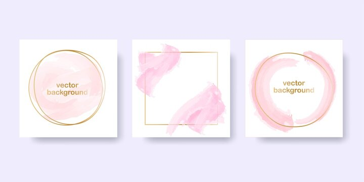 Rose gold background for the banner. Set of round and square gold frames with pink pastel brush elements. Vector illustration