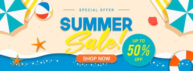 Obraz Summer sale banner vector illustration. Summer beach flat design - fototapety do salonu