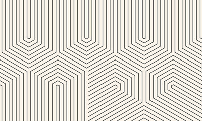 Abstract black and white background with lines. Striped wallpaper with zigzag pattern.