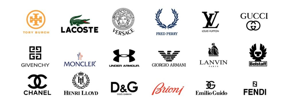 Top most popular clothing brands. Logo, icons: GUCCI, Dolce Gabbana, VERSACE, CHANEL, Lacoste, Fred Perry, Lanvin paris, Tory Burch, Moncler, Emilio Guido. Vector. Zaporizhzhia, Ukraine - May 25, 2021