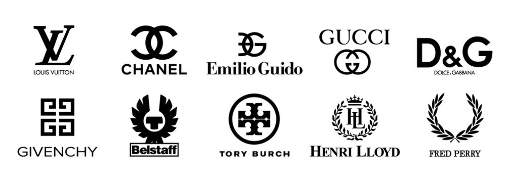 Collection vector logo popular clothing brands: GUCCI, Dolce Gabbana, Givenchy, Louis Vuitton, Fred Perry, CHANEL, Tory Burch, Belstaff, Emilio Guido, Henri Lloyd. Zaporizhzhia, Ukraine - May 25, 2021