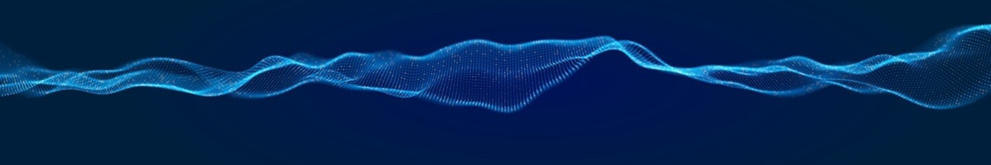 Obraz Dynamic blue dot landscape. Abstract panorama digital wave background. Network data structure. Point grid visualization. Technology vector illustration. - fototapety do salonu