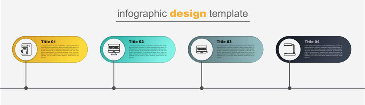 Set line Table lamp, Laptop with text work, Monitor and Coffee machine. Business infographic template. Vector