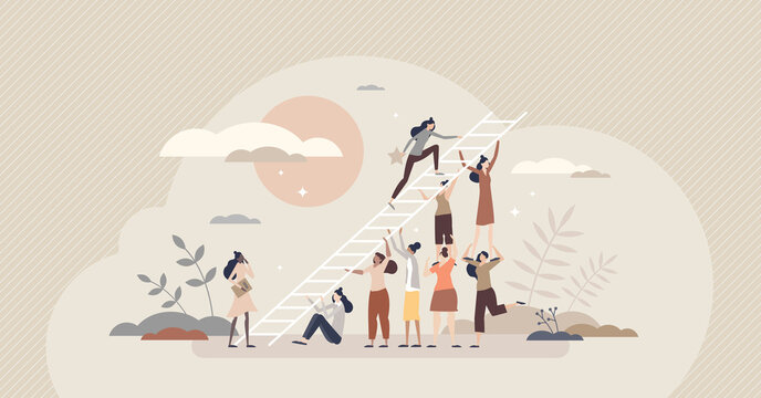 Encouragement for female career and woman motivation tiny person concept. Crowd appreciation and cheering with work support and collaboration vector illustration. Feminism bonus as confidence boost.