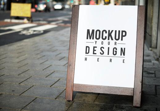 Standing Poster Mockup at Restaurant